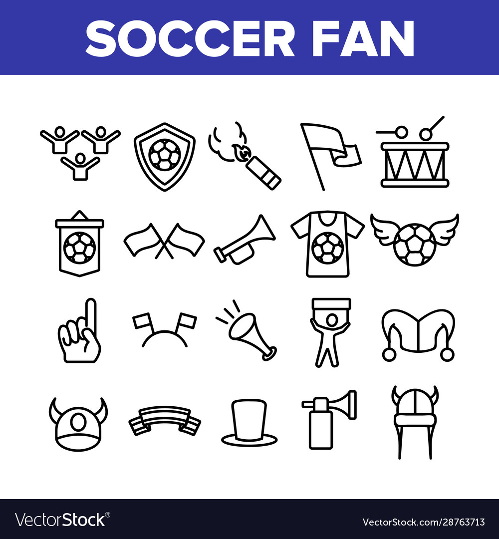 Soccer fan equipment collection icons set
