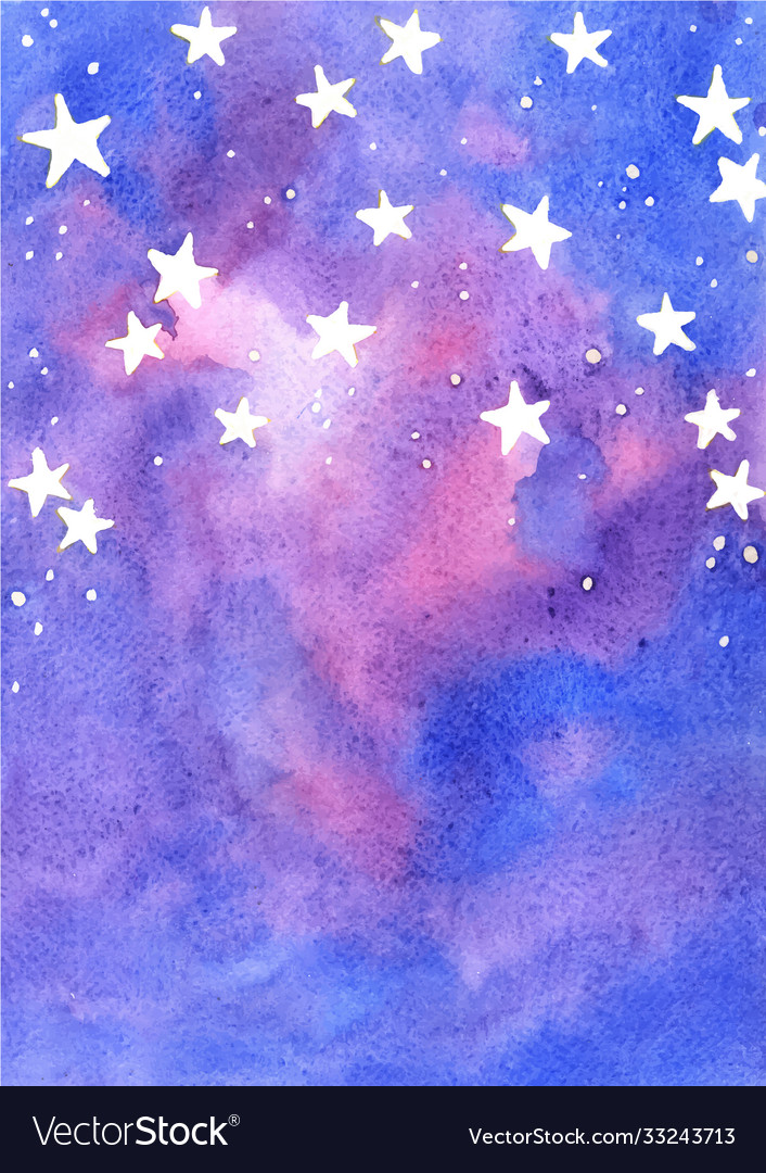 Star on fairy tale sky watercolor background