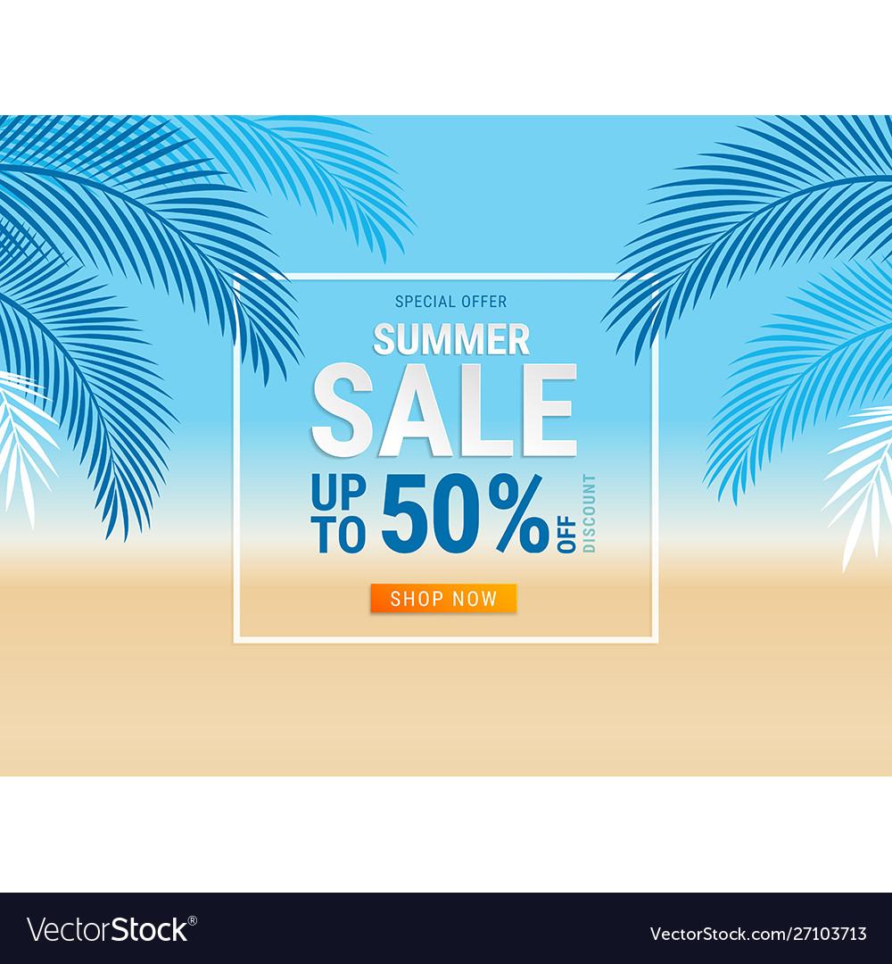Summer sale card with coconut leaf on beach