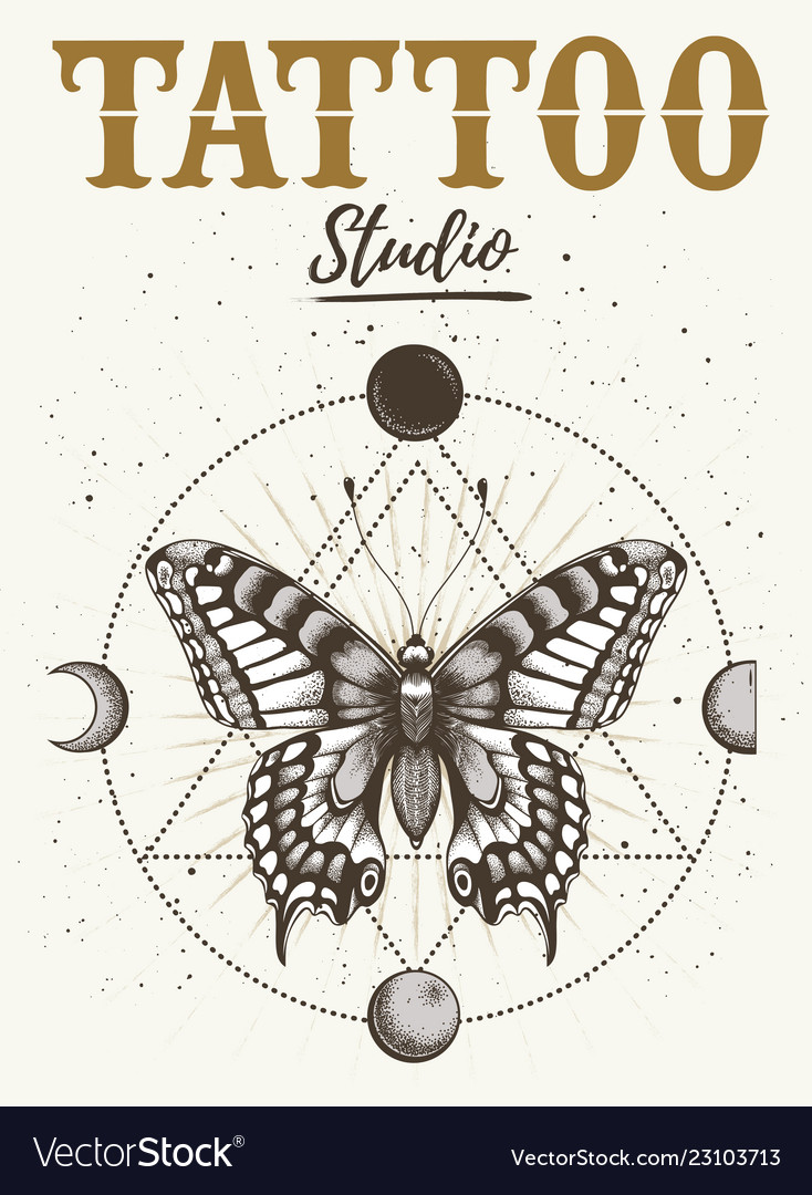 e03974497 Tattoo studio poster with mystical butterfly moon Vector Image
