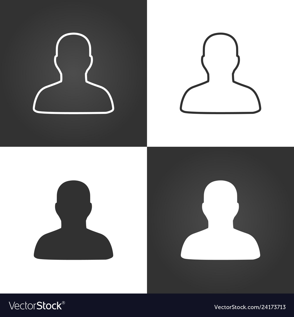 User linear icon set isolated on white and black
