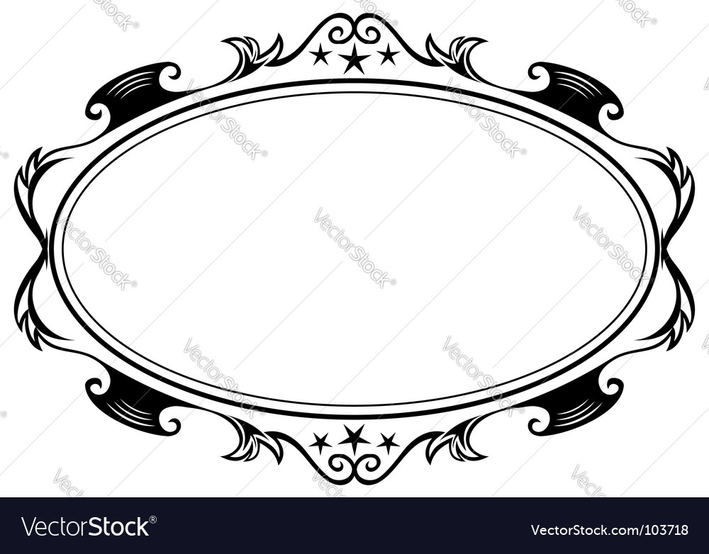Antique oval frame Royalty Free Vector Image - VectorStock
