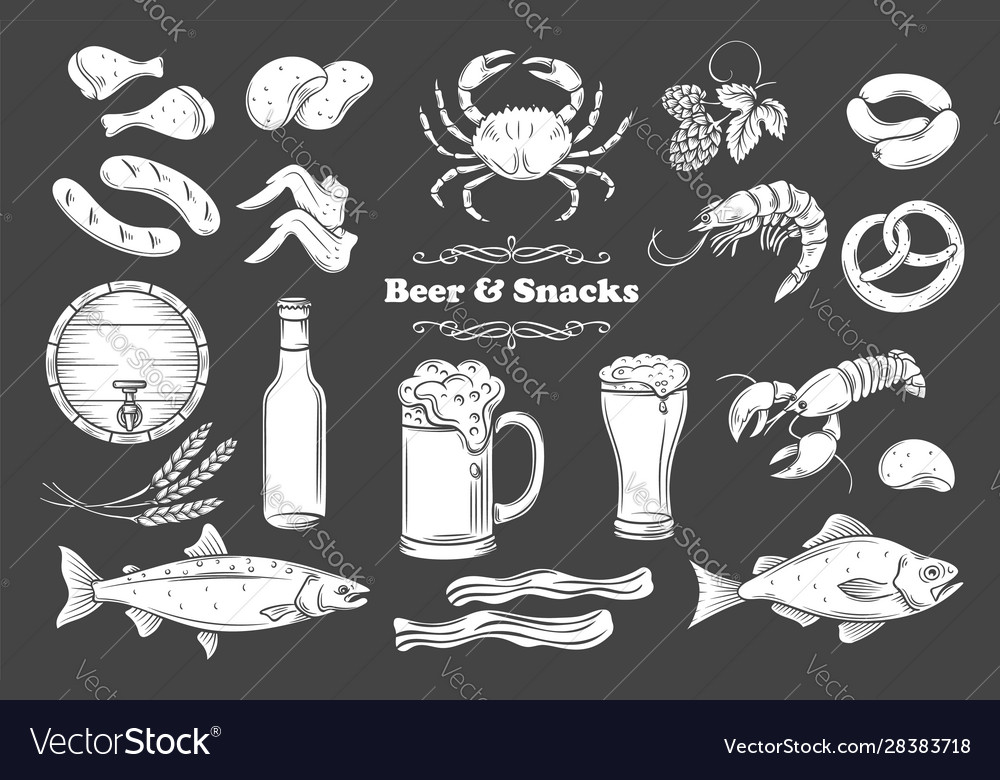 Beer and snack glyph icons set
