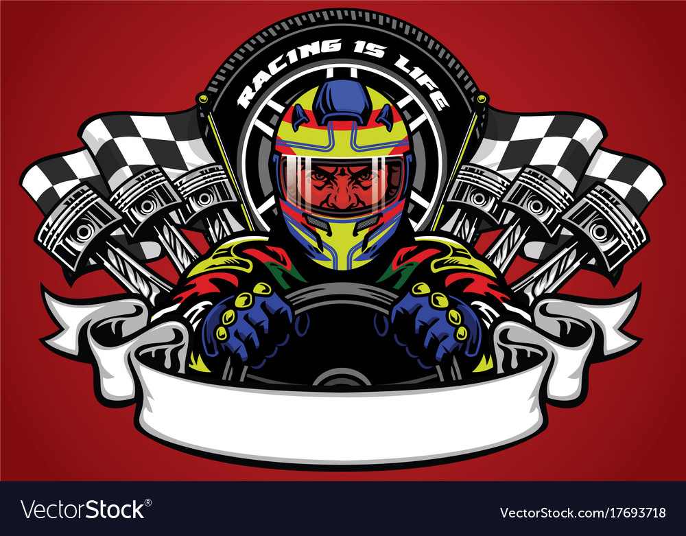 Car racer wearing helmet with ribbon for text vector image