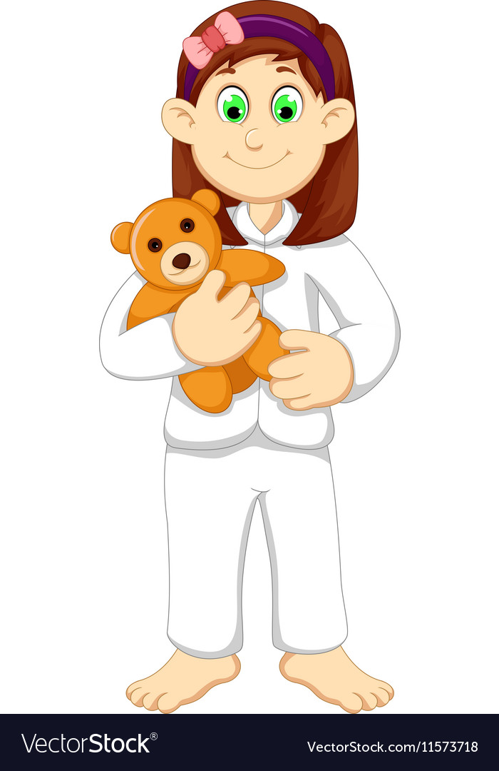 Cute sleepy girl cartoon holding teddy bear