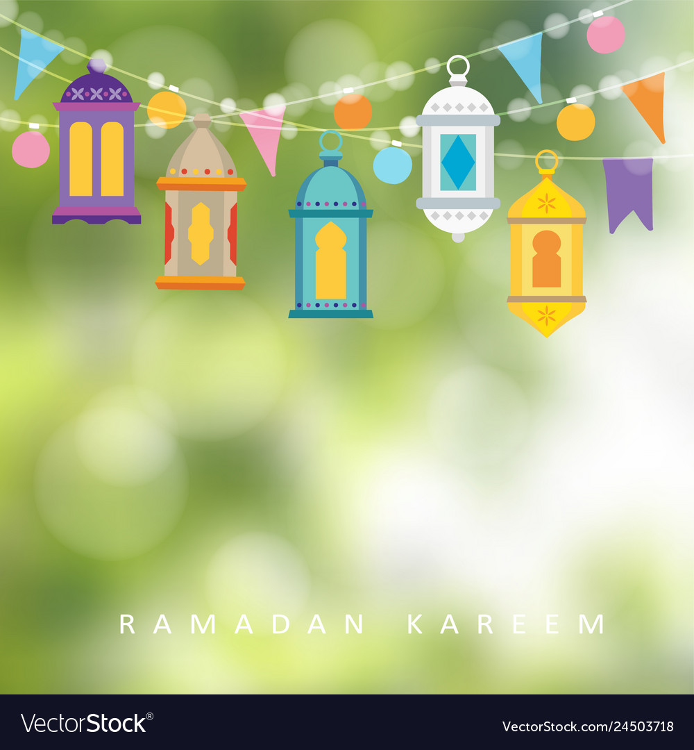 Garlands with hanging colorful lanterns flags and