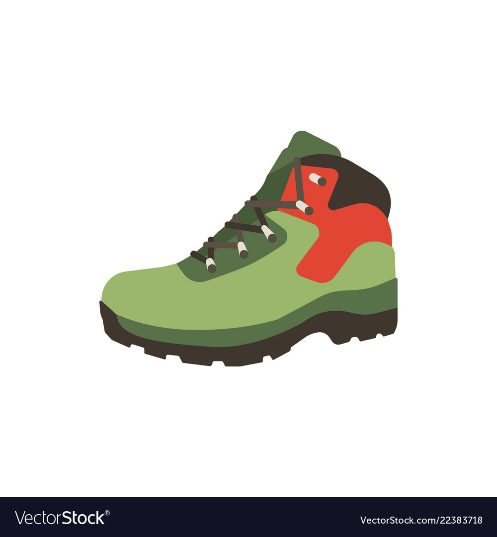 Hiking boot icon in flat style isolated on white