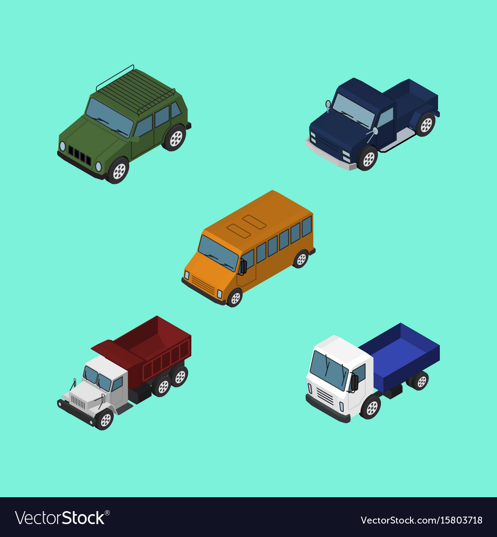 Isometric car set of armored lorry suv and other