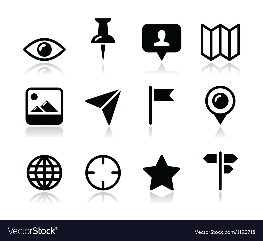 Location map travelling icon set vector image
