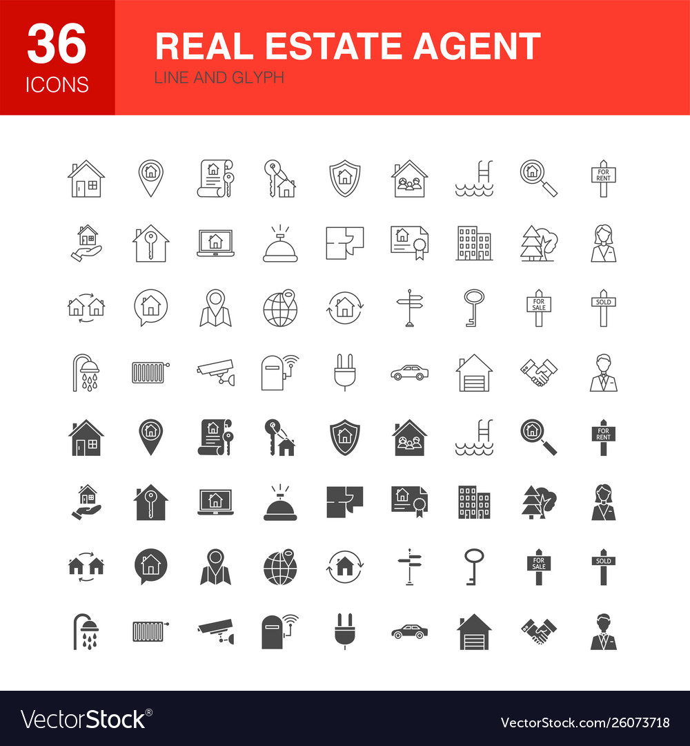 Real estate agent line web glyph icons