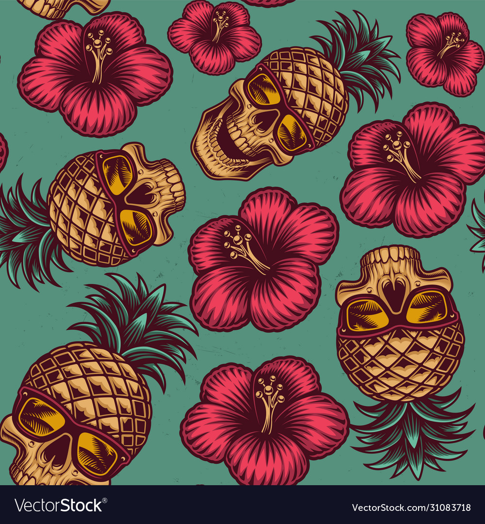 Seamless color pattern on hawaiian theme