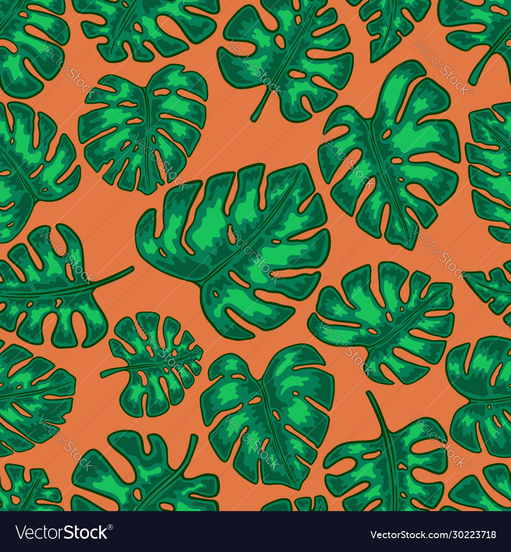 Seamless pattern with monstera tropical leaves