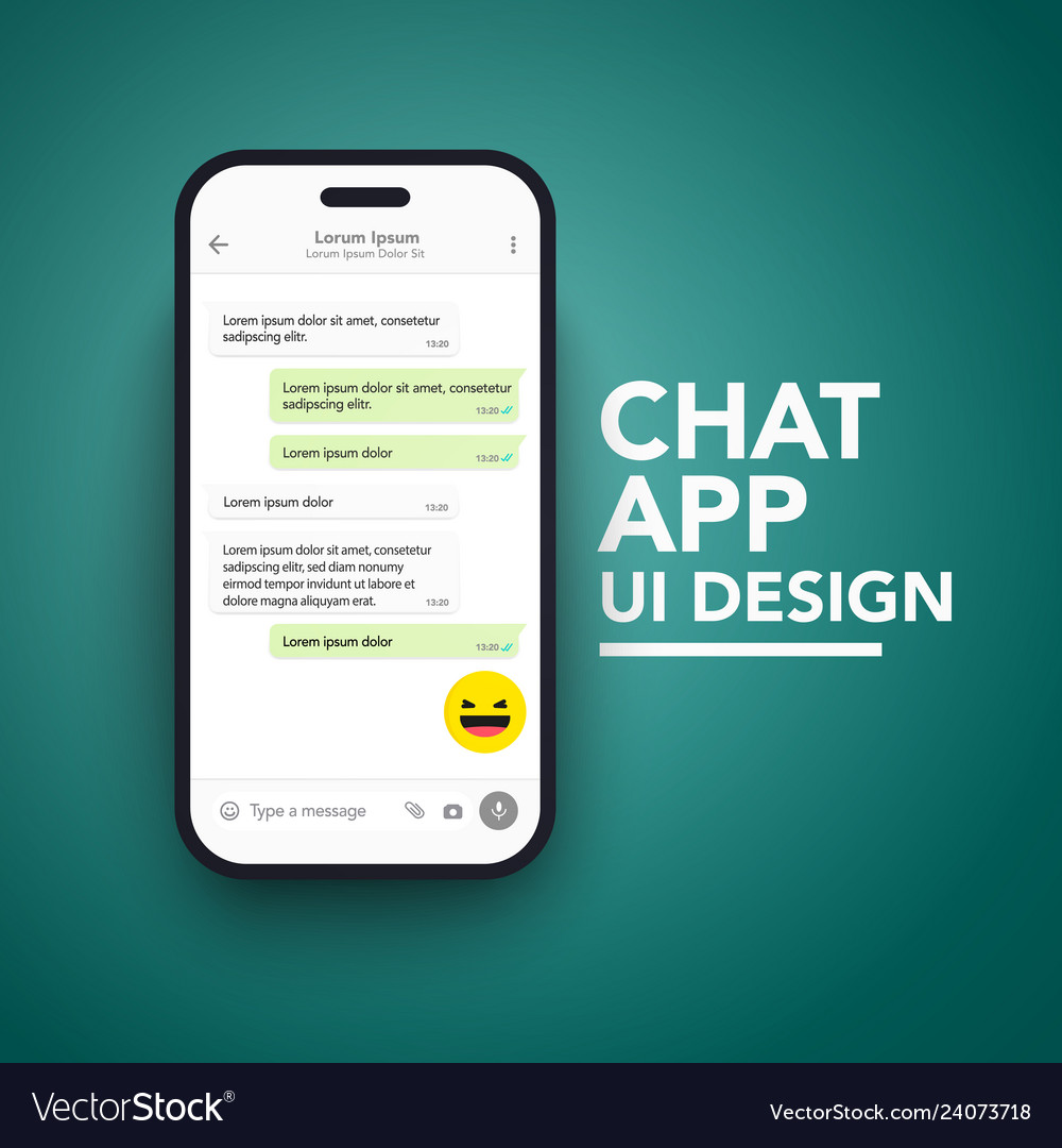 Smartphonemobile chat app ui and ux concept theme