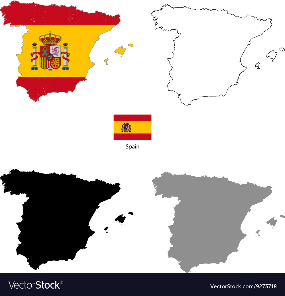 Spain country black silhouette and with flag on