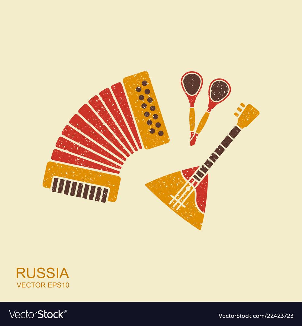 Accordion spoons and balalaika russian musical