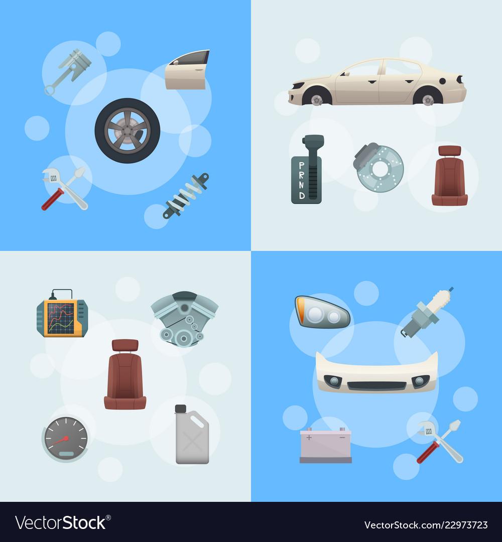Car parts infographic concept