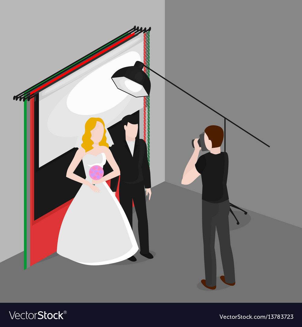 Flat isometric newlyweds photographing bride and