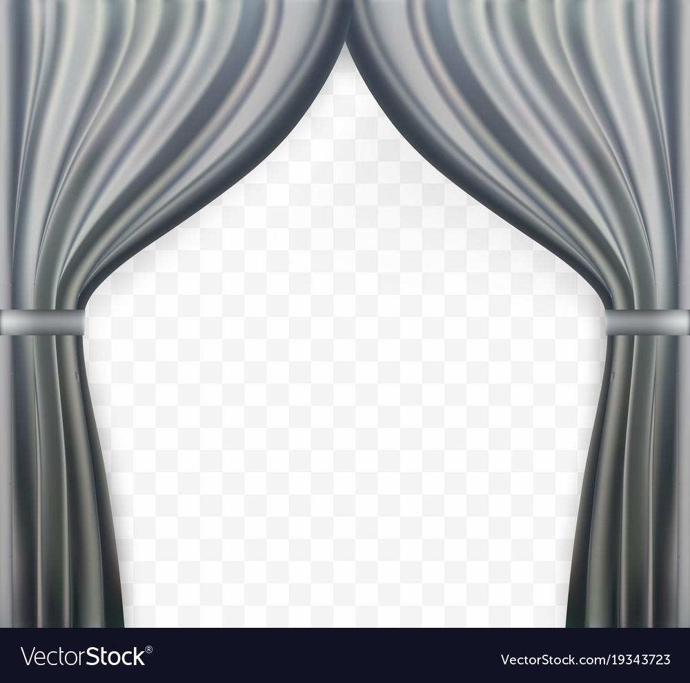 Naturalistic image of curtain open curtains gray