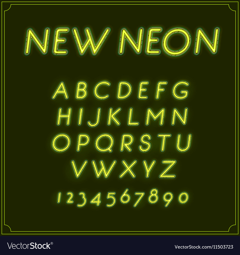 Neon Italic Font Type Alphabet Glowing in With