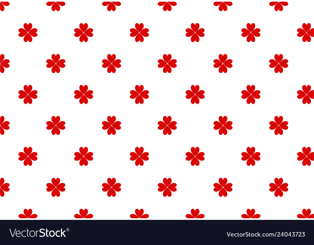 Red four-leaf clover pattern for st patrick day