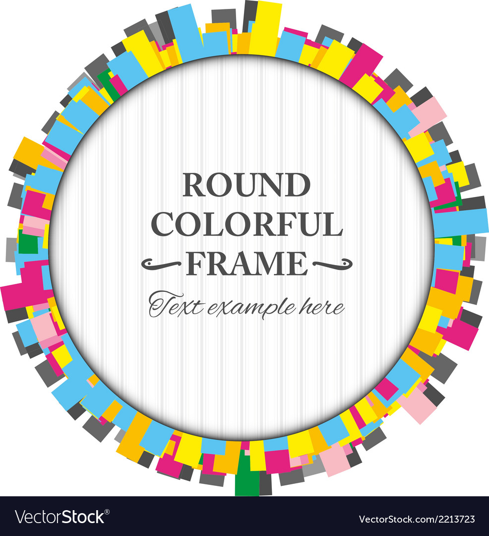 Round colorful frame made of rectangles vector image