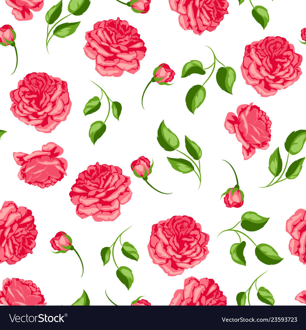 Seamless pattern with red roses beautiful