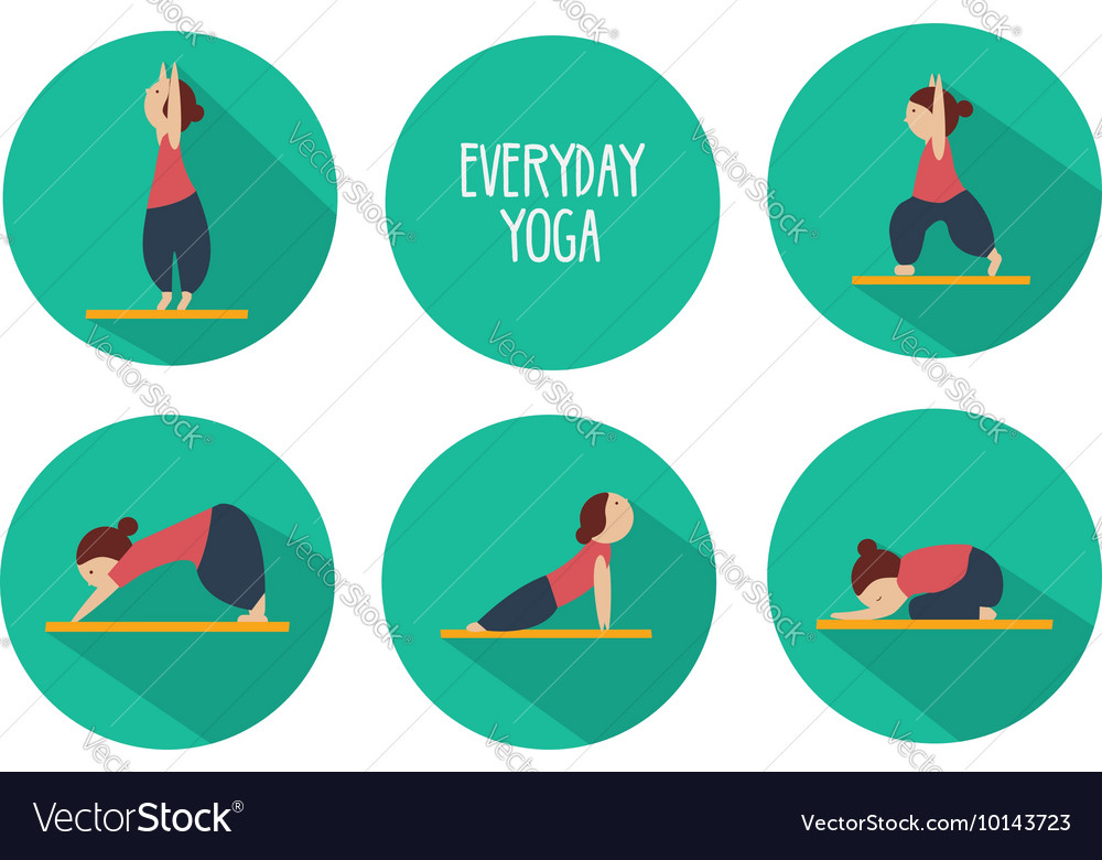 Simple Yoga Poses For Beginners Isolated Vector Image