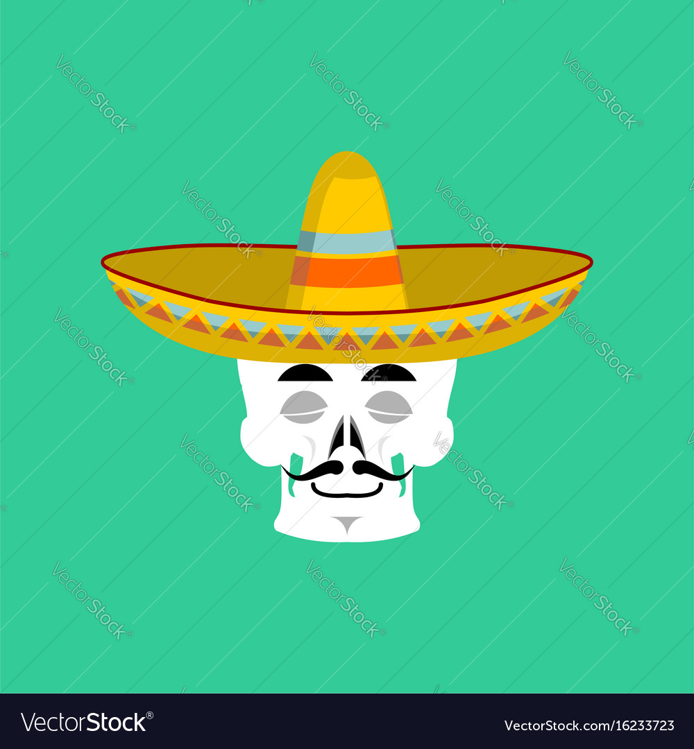 Skull in sombrero sleeping emoji mexican skeleton vector image