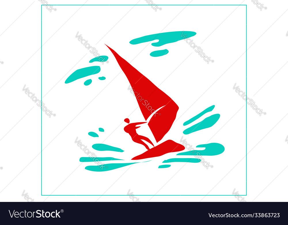 Stylized image a man on a sailing board