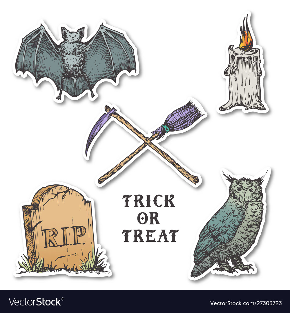 Vintage style halloween stickers set hand drawn