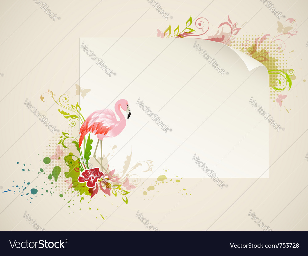 Banner with pink flamingo and flowers