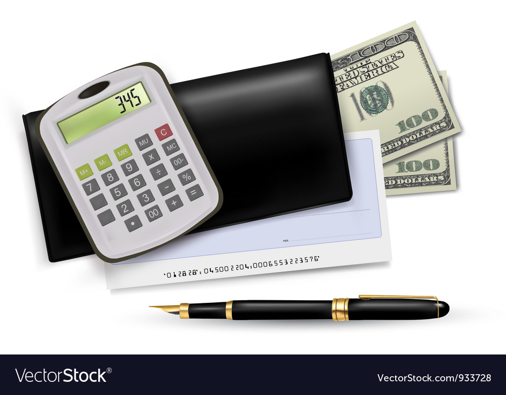 Black checkbook with pen and dollars