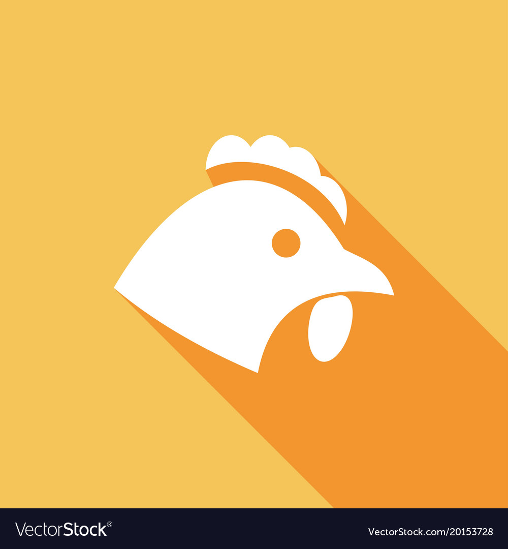 Chicken icon with a long shadow vector image