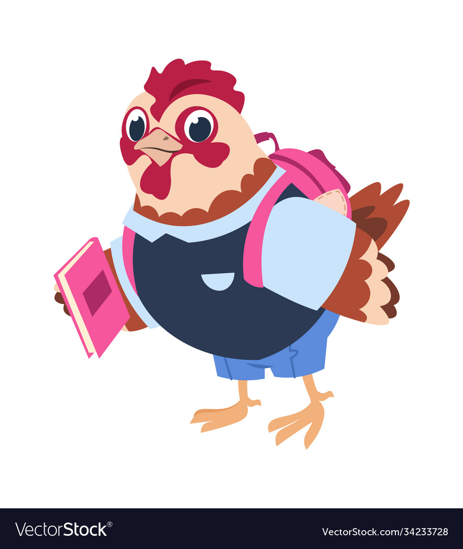 Cute cartoon chicken with book and backpack