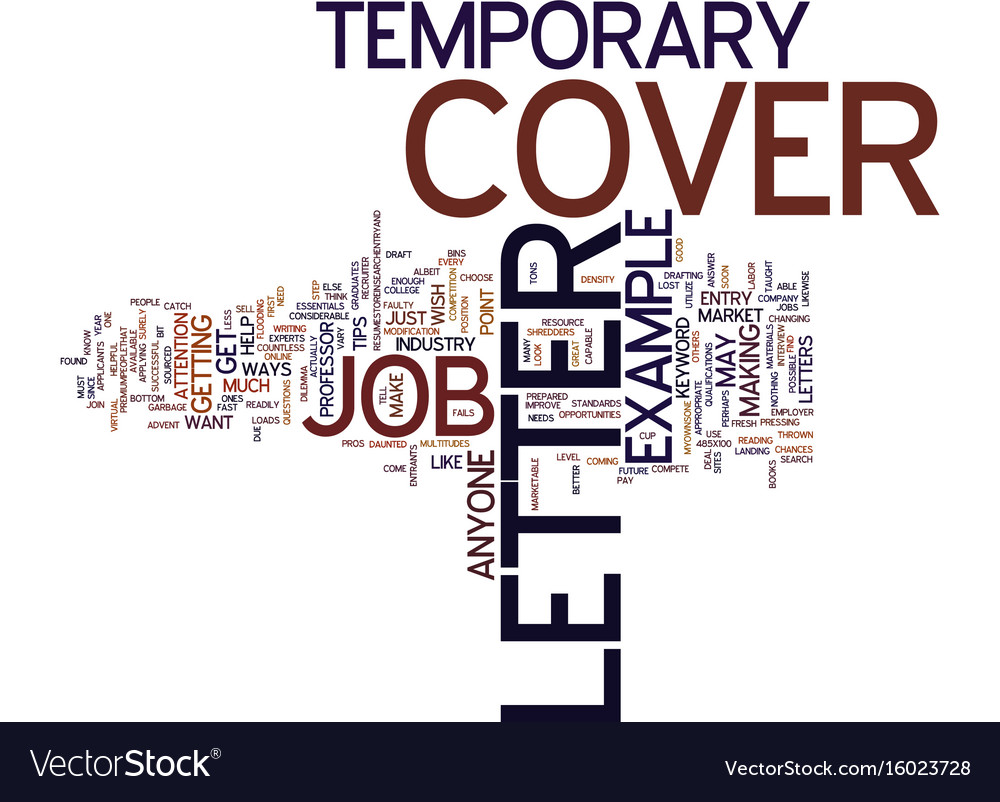 Example cover letter for temporary job text