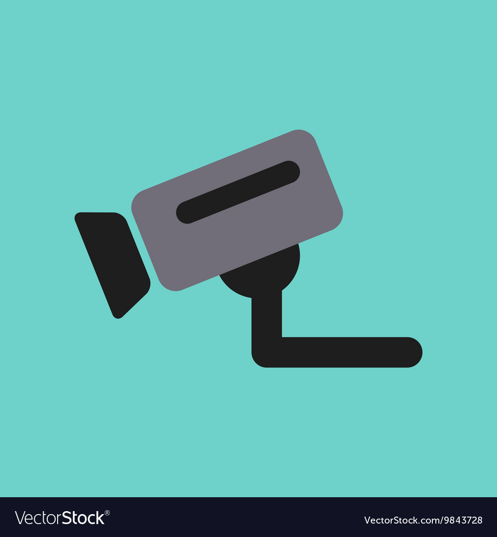 Flat icon on background security camera