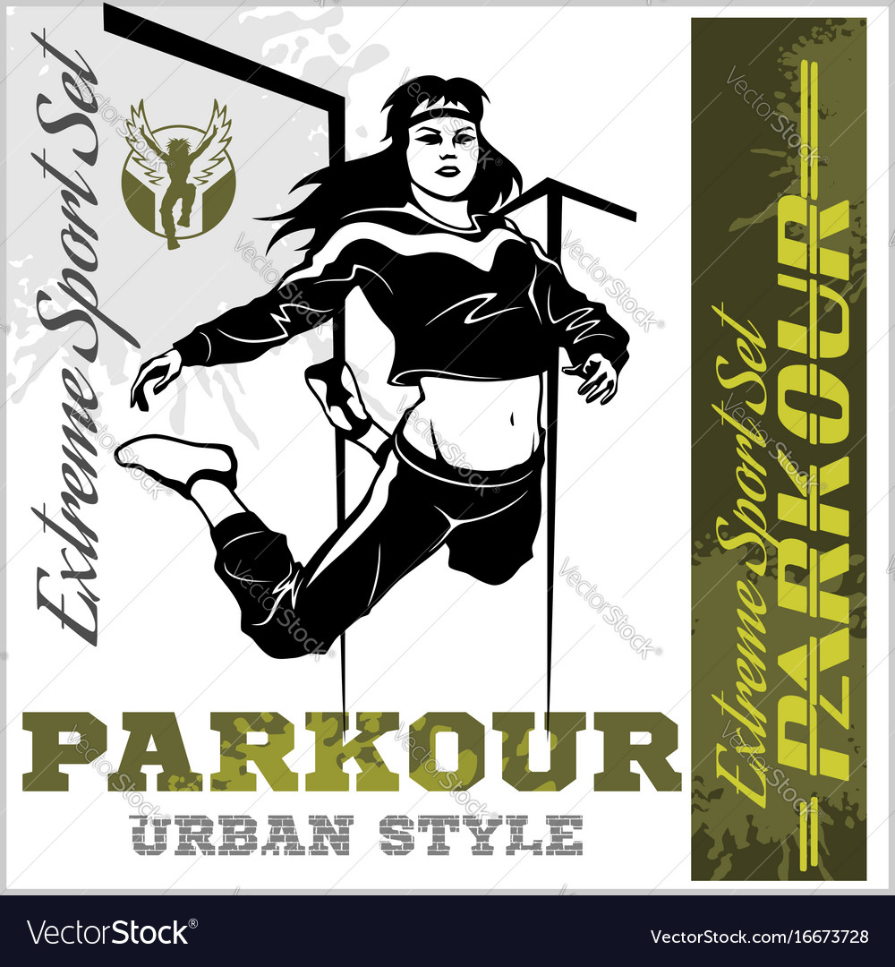 Girl parkour is jumping - and emblem vector image