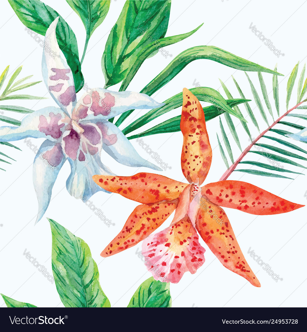 Orange and white orchid palm leaves watercolor