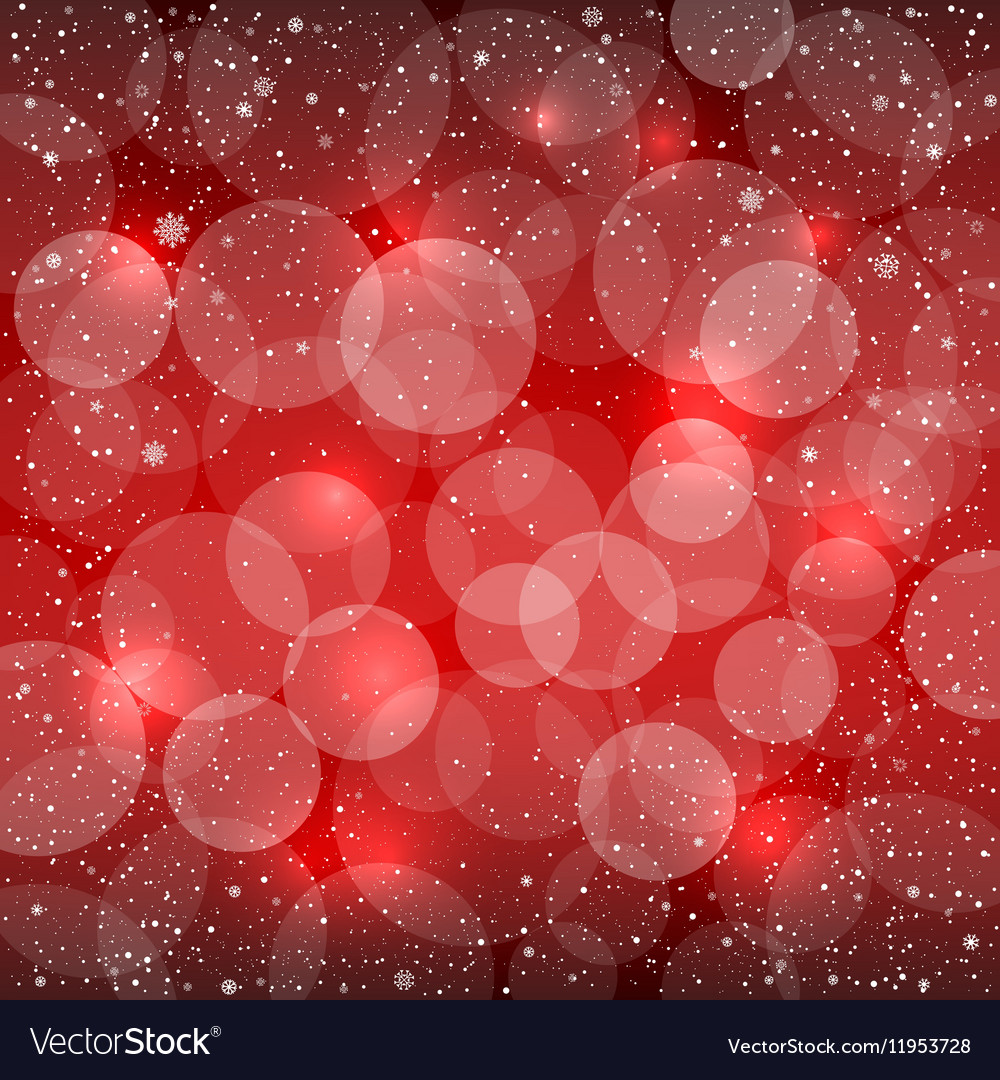 Red bokeh snow background vector image