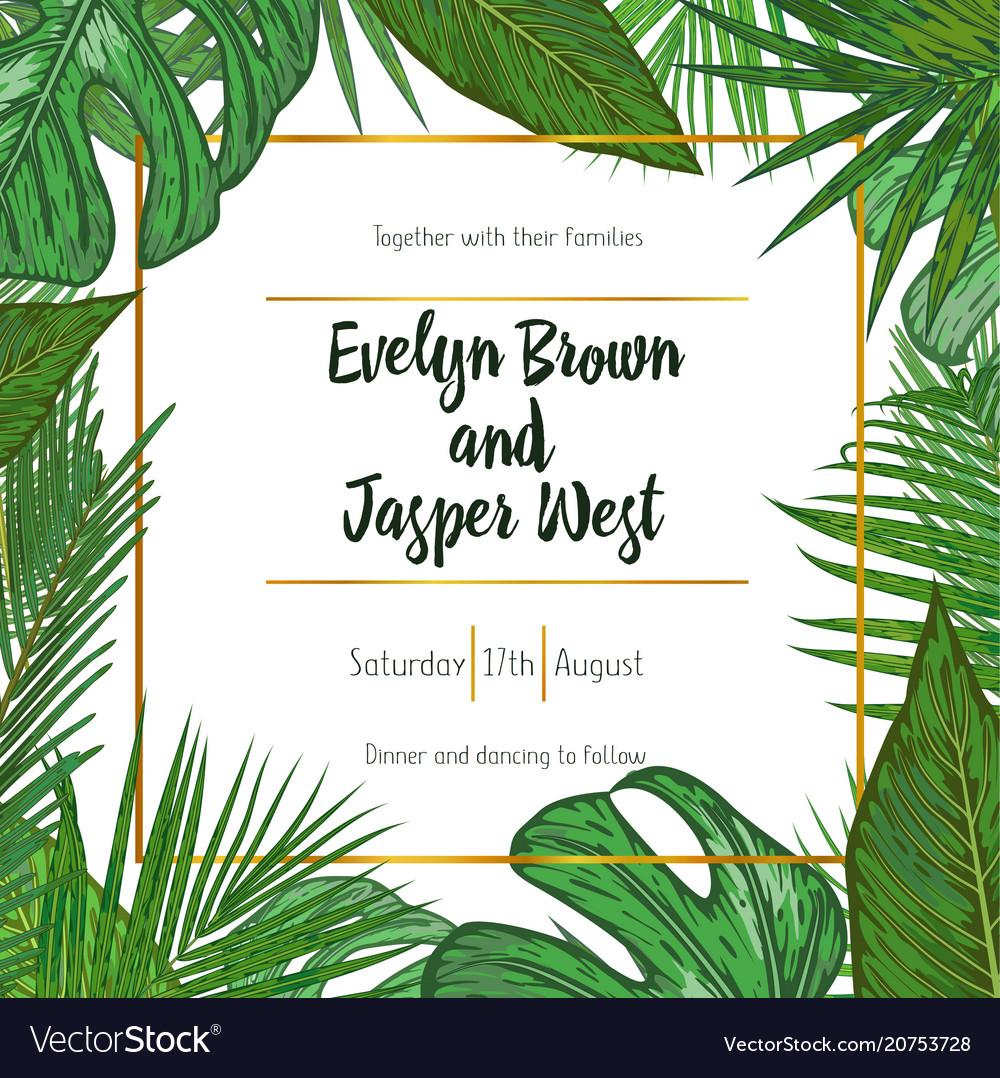 Wedding invitation floral invite card design with