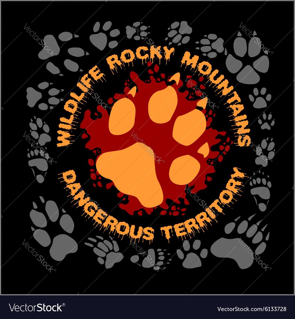 Wolf footprint emblem for t-shirt