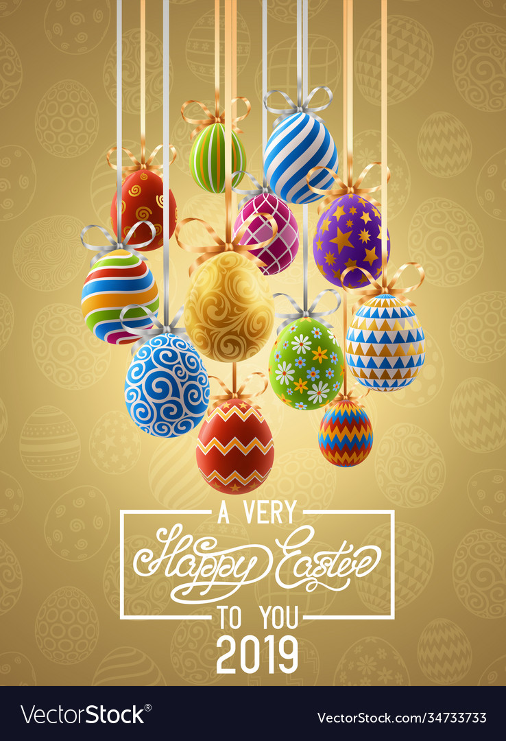 Background with decorated easter eggs design of
