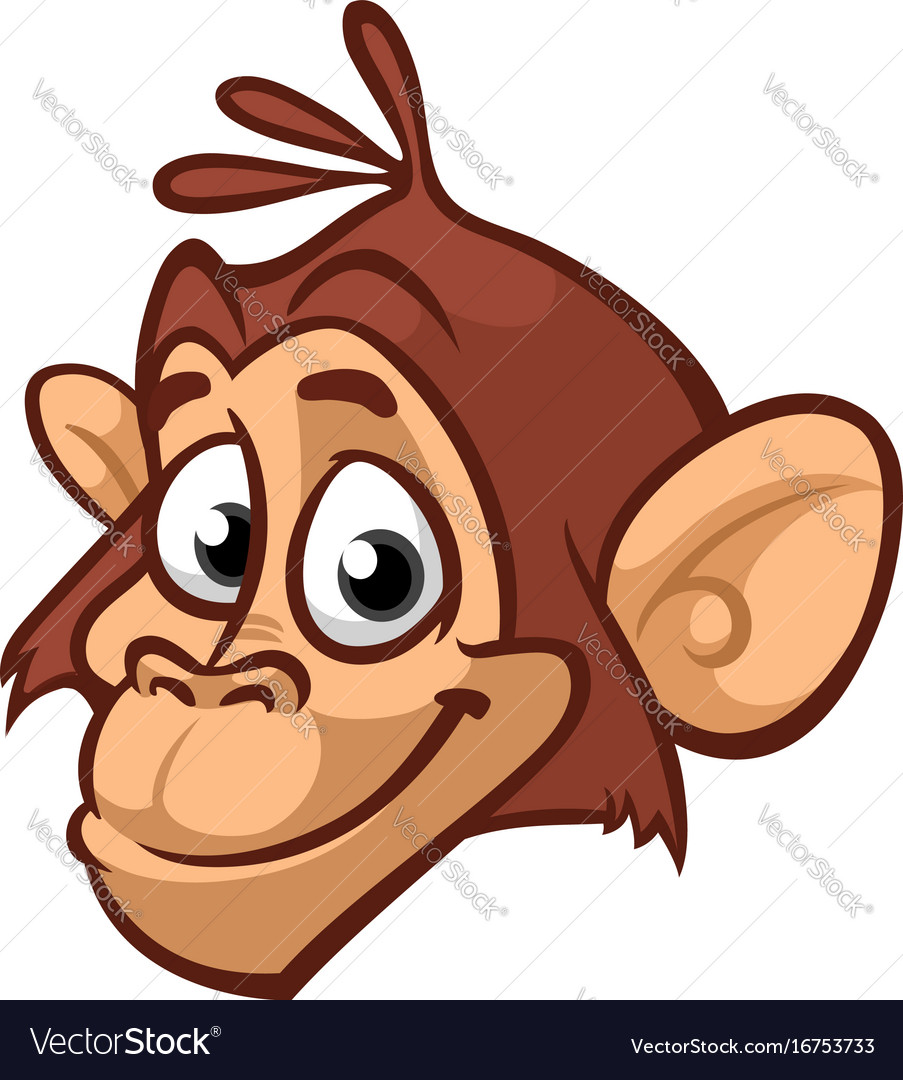 Cartoon monkey head icon isolated