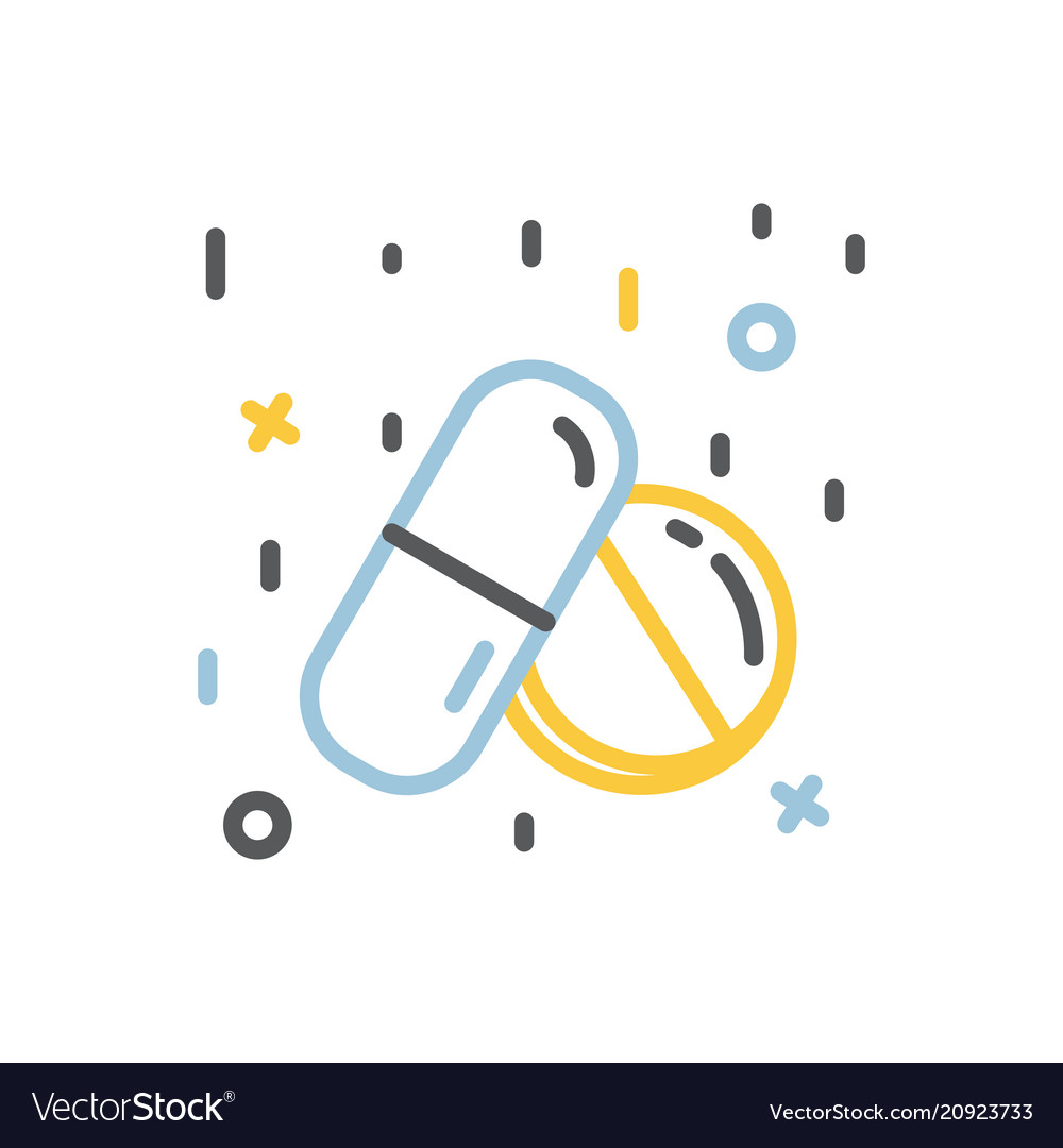 Drugs icontablet and capsule sign thin line vector image