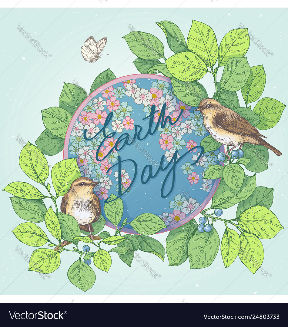 Earth day with globe and birds