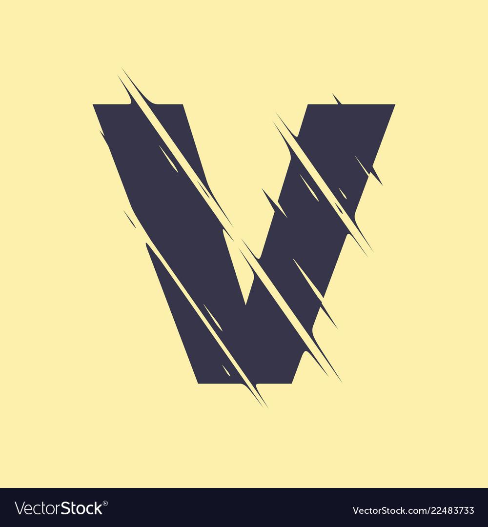 Scribbled letter v