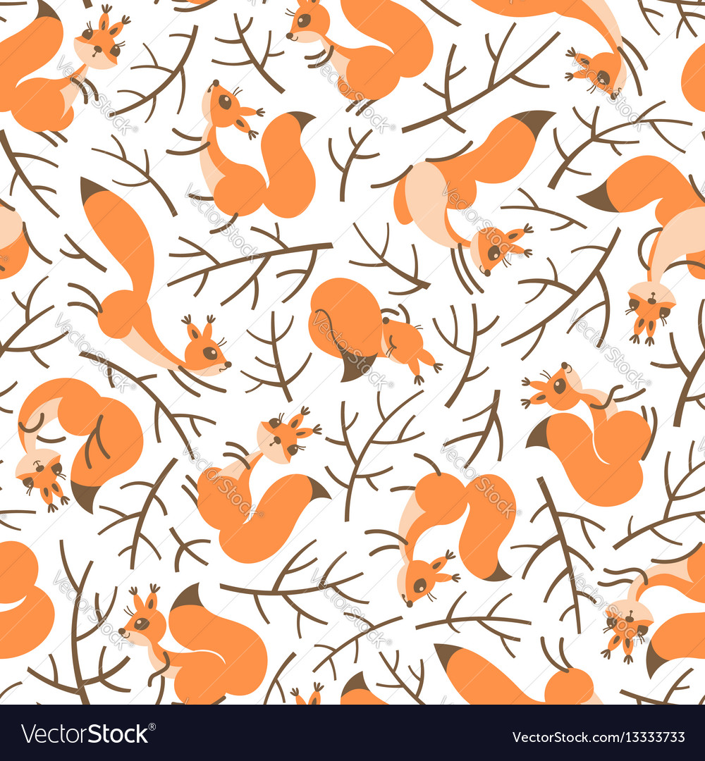 Scurry of squirrels on the branches seamless
