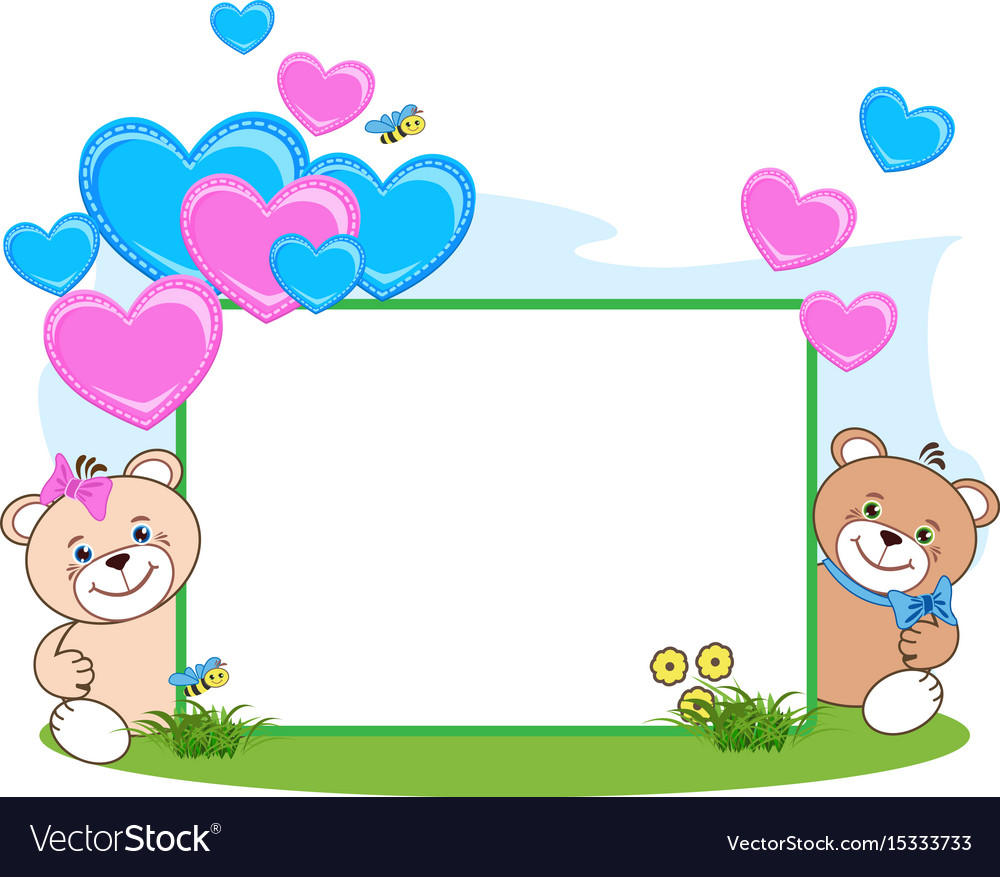 Teddy Bear With Heart Frame Royalty Free Vector Image