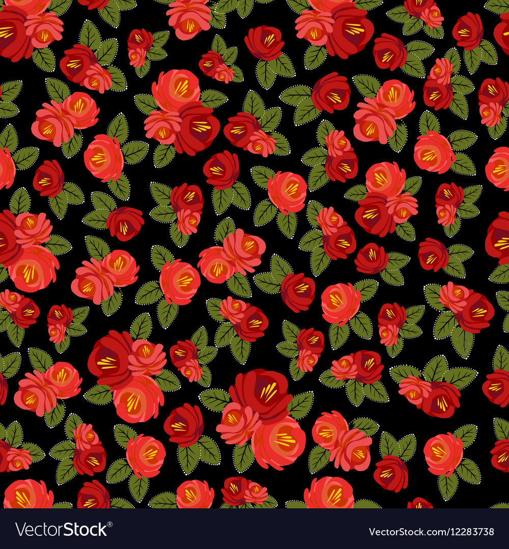 Beautiful seamless pattern with red roses on black