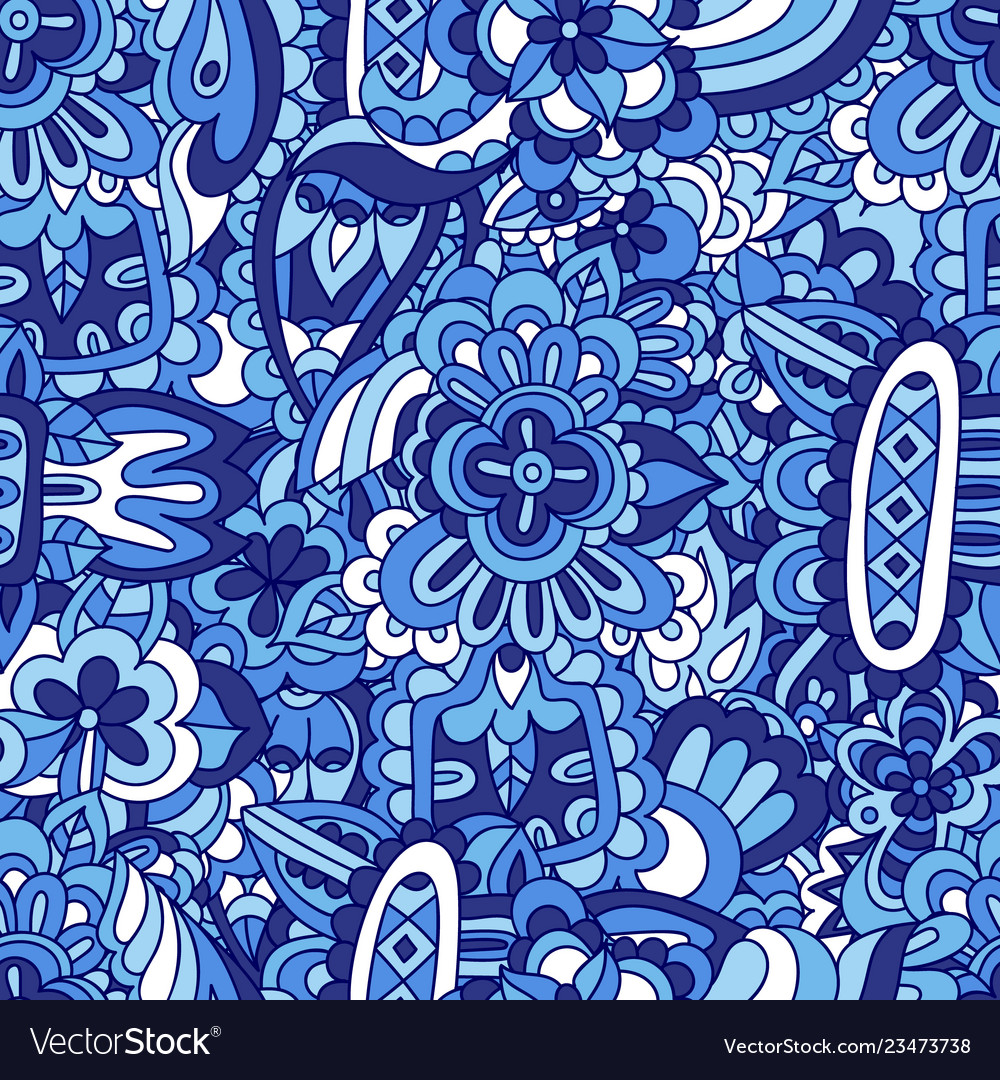 Blue doodle flower seamless abstract